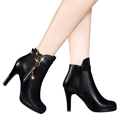 Outtop(TM) Women High Heel Shoes Short Tube Booties Ladies Leather Zipper Solid Color Round Toe Martain Boots (US:6.5, Black) ()