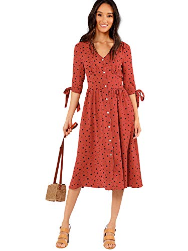 Milumia Women's Tie Cuff Button Through Casual Deep V Neck Short Dress Large Rust