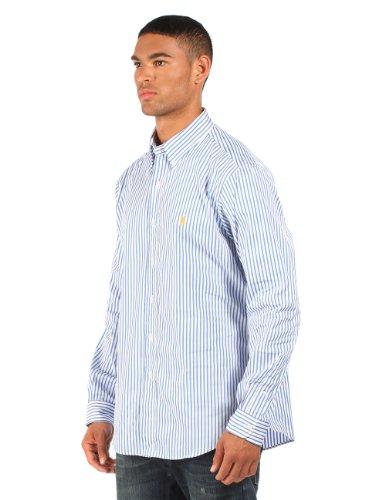Ralph Lauren - Chemise rayée habillée - coupe ajustée - bleu/blanc/logo jaune - homme