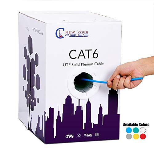Cat6 Plenum 1000ft UTP Solid Bulk 550MHz CMP Ethernet Networking Cable Blue