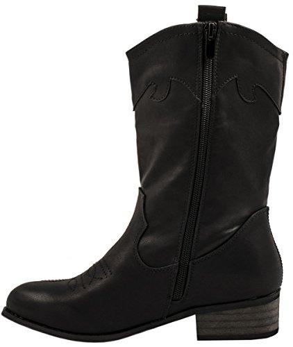 Éclair Bottes Noir Cowboy Talon Bottines Elara Confortables Bloc Cuir Pour Aspect Femmes Fermeture Chunkyrayan Doublure PAqwTPp
