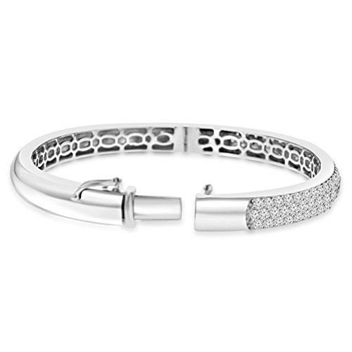 - 4.10 ct Pave Set Diamond Bangle Bracelet in 14 kt White Gold