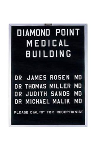 Open-Face Black Felt Directory Board w Aluminum Trim (24 in. x 18 in.)