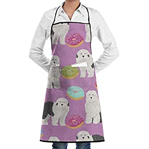 EEMNJIHH Old English Sheepdog Bib Apron Adult Women Durable Comfortable for Cooking Baking Kitchen Restaurant Crafting 1