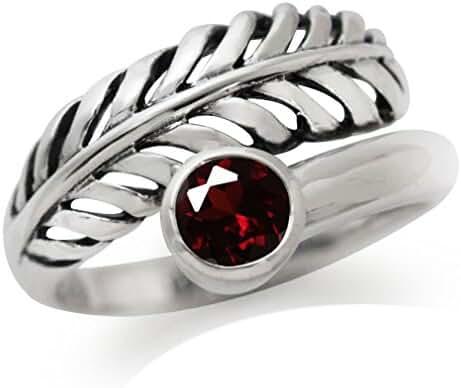 Natural Garnet 925 Sterling Silver Leaf Filigree Ring