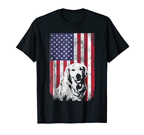 4th Of July Golden Retriever American Flag T Shirt Patriotic