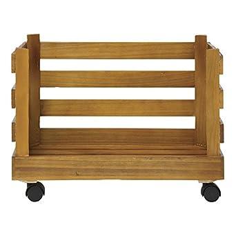 Caja rectangular de madera natural con ruedas, de la marca Expresbly Hubert, 38 cm de largo x 35 cm de ancho x 43 cm de alto.: Amazon.es: Amazon.es