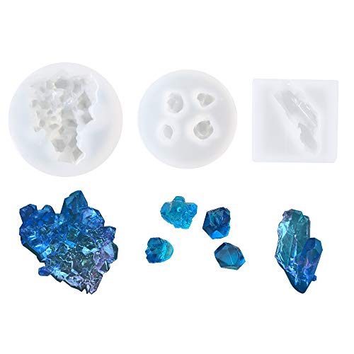 Rock Mold - 3Pcs Growing Crystal Quartz Rock Resin Silicone Molds Crystal Stone Gravel Casting Molds Jewelry Making Tools for Craft Keychain Necklace Earring Project