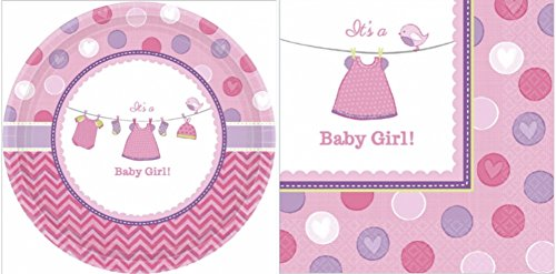 (Shower with Love It's a Baby Girl Plates and Napkin Set (48)