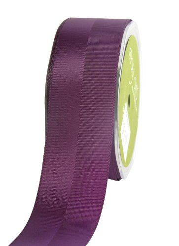 May Arts 1-1/2-Inch Wide Ribbon, Plum Satin and Grosgrain ()