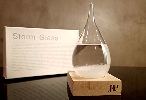 J.R.P Decorative Water Drop Shaped Weather Predicting Storm Glass Bottle | Stylish And Unique Desktop Weather Forecasting Barometer (P Top Desk)