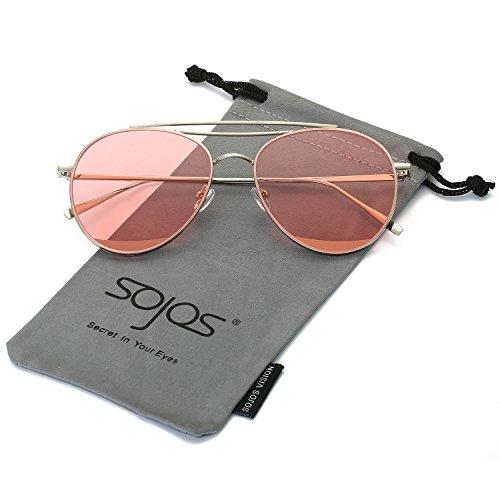 SojoS Fashion Aviator Double Metal Crossbar Mens Womens Sunglasses SJ1059 With Silver Frame/Transparent Pink - Aviators Transparent