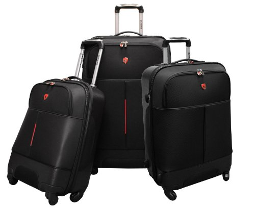 Olympia Luggage Dallas 3 Pack Set, Black, One Size, Bags Central