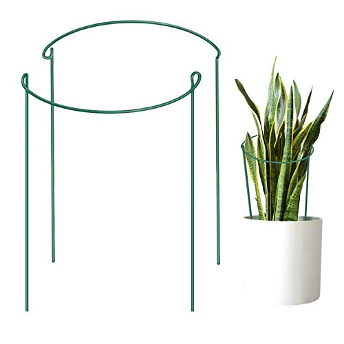 "Feitore Metal Garden Plant Supports, 2 Pcs Half Round Plant Support Ring Hoops, Garden Border Supports for Peonies, Roses, Hydrangea (9.8"" Wide x 15.7"" High)"
