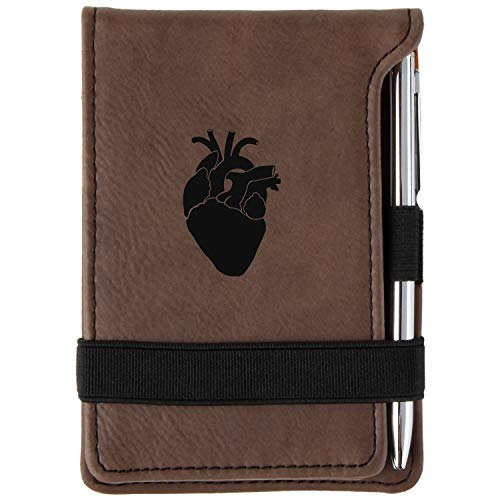 Anatomical Heart Engraved Leather Personalized Mini Notepad With Pen