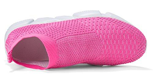 LANDEER Frauen leichte atmungsaktive Casual Sportschuhe Mode Turnschuhe Wanderschuhe Rosa