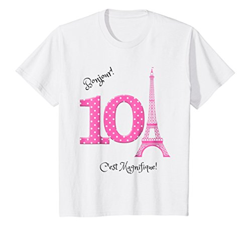 Kids Paris Theme 10th Birthday Shirt