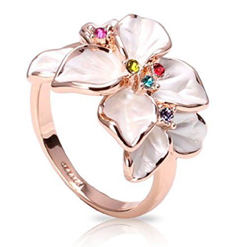FAIRY COUPLE Women's Multi-color Cubic Zirconia White Enamel Flower Ring R79(4) (Enamel Flower Ring)