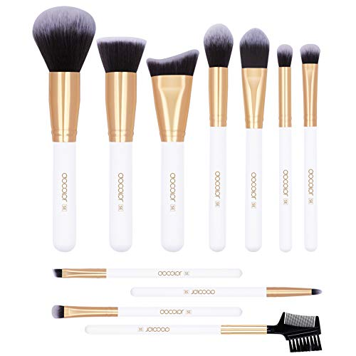 Docolor Makeup Brushes 11Pieces SE Series Makeup Brushes Set Professional Face Powder Foundation Blending Contour Highlight Eye Shadow Make Up Brushes Kit (White/Golden) - Set Powder