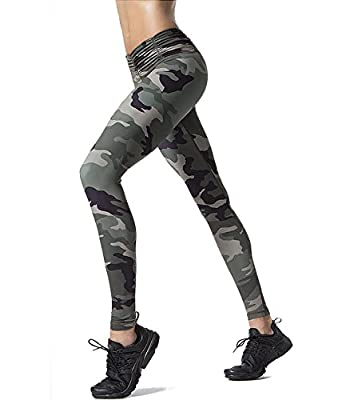 Pink Peach Women's Yoga Leggings High Waist Camo Running Sports Pants Slim Fit