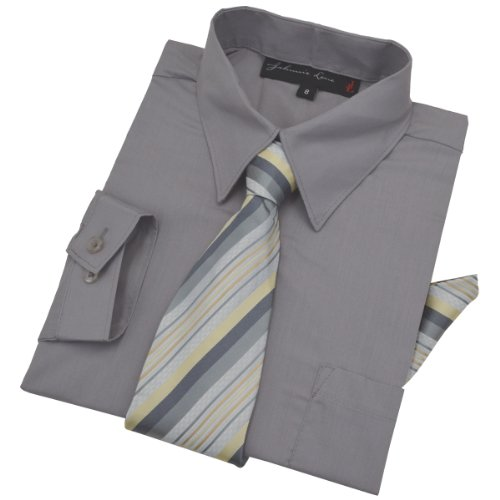 Boys Dress Shirt with Tie and Handkerchief #JL26 (3T, Goat gray)
