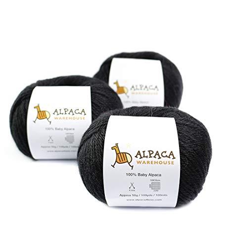 100% Baby Alpaca Yarn Wool Set of 3 Skeins Worsted Weight (Black)