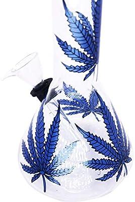 Blue Maple Leaf Dream ELF 8 Inch Blue Leaf Pipe,with Water Tank Handmade Water Bottle