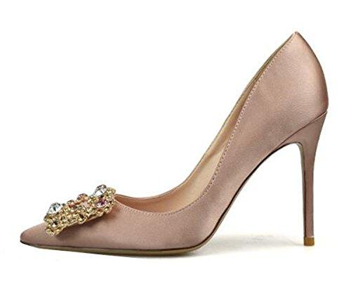 Evening Nude XIUWU Bridesmaid Pumps Crystal Women's Heels High Stiletto EEwC8qxS