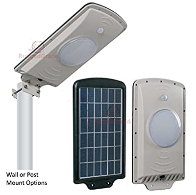 LED Solar Wall Light - Solar Street Light - All in One Solar with Motion - Professional Grade Street Solar Light - Solar Powered with Lithium Ion Battery Included