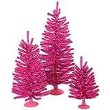 "Vickerman 12"", 18"" and 24"" Unlit Hot Pink Mini Tree Set"