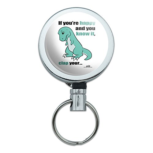 Metal Retractable Reel ID Badge Key Holder with Belt Clip Funny Nerdy Mustache - T-Rex Can't Clap Hands Happy and Know It
