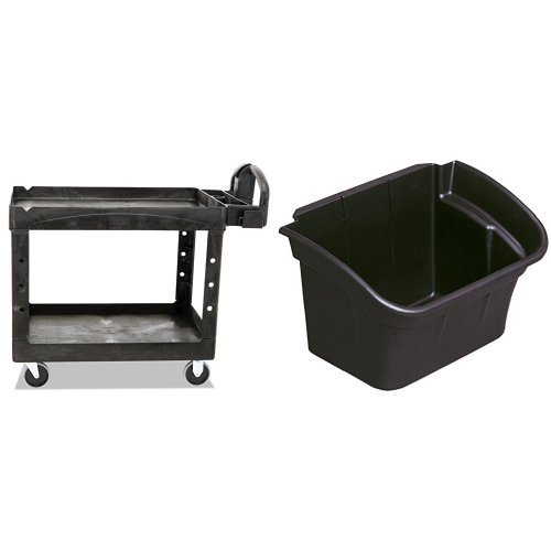 Mobile Office Worksurface - Rubbermaid Commercial Heavy-Duty 2 Shelf Utility Cart, Lipped Shelves, Medium with Commercial Utility Bin, 4gal, Black (RCP335488BLA)