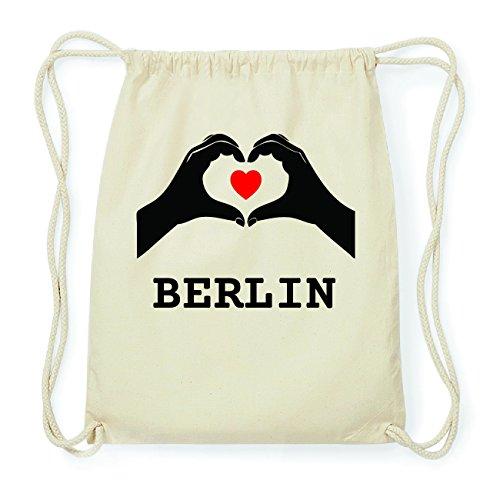 JOllify BERLIN Hipster Turnbeutel Tasche Rucksack aus Baumwolle - Farbe: natur Design: Hände Herz