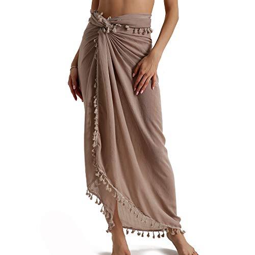 Eicolorte Beach Sarong Pareo Womens Cotton Swimwear Cover Ups Long Wrap Skirt Swimsuit (Khaki-Long)
