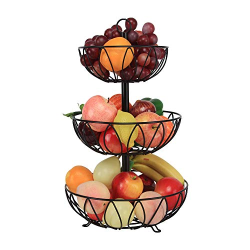 Kitchen Counter Top Fruit Basket Bowl Storage Black Cast Iron (3-Tier)