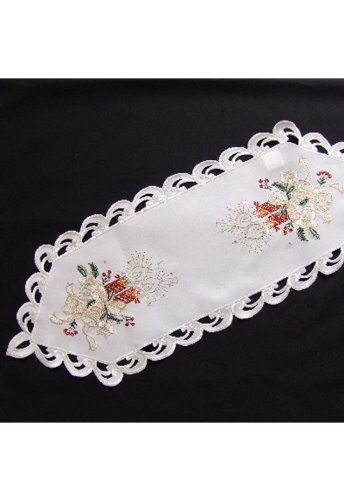Table Runner- Tablecloth - wool-white - varicoloured embroidery - red Candles -