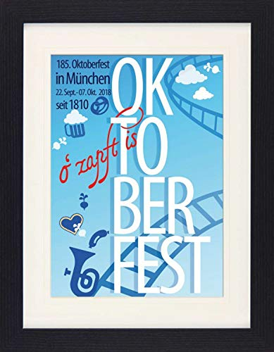 Beer Framed Collector Poster - Oktoberfest 2018, Beer Festival (16 x 12 inches)