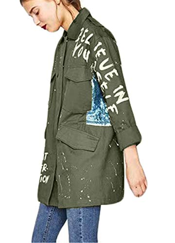Giacche Digitale Pattern Maniche Armeegrün Vintage Primaverile Casual Moda Fashion Autunno Paillettes Outerwear Ragazza Coat Eleganti Donna Cucitura Chic Giubbino Relaxed Lunghe qrIZwr
