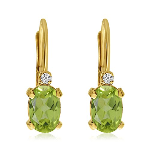 0.50 Carat (ctw) 14k Yellow Gold Oval Green Peridot and Diamond Solitaire Dangle Earrings with Lever Back (6 x 4 MM)