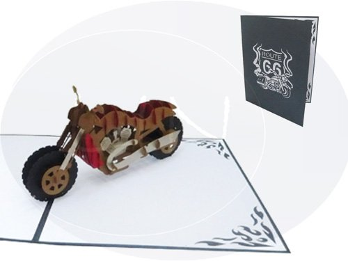 "LIN Pop Up 3D Greeting Card for Motorcycle Fans, Chopper, ""Harley"", Large card (6 x 7.8 inches), (#161)"