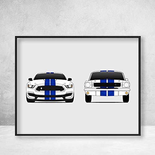 Mustang Shelby GT350 Poster Print Wall Art of the New and Classic GT350 Ford