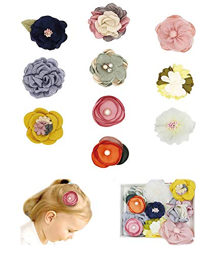 FANCY CLOUDS Girls Fabric Hair Bows Flowers Clips Barrettes,Lined Alligator,Hair Accessories for Baby Newborn Infant Toddler Kids