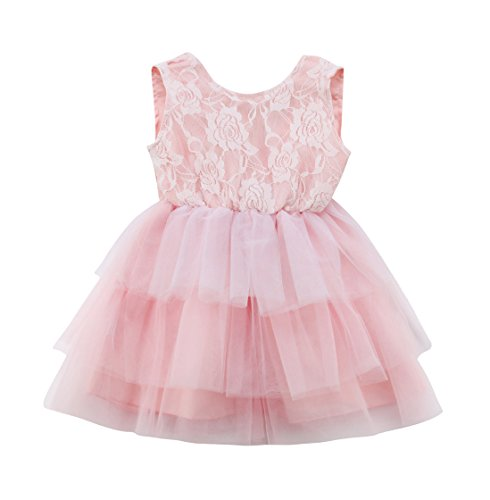 rechange Tollder Kid Baby Girls Sleeveless Backless Big Bow Tulle Tutu Dress Lace Sundress Wedding Birthday Party Princess Dress (2-3 Years)