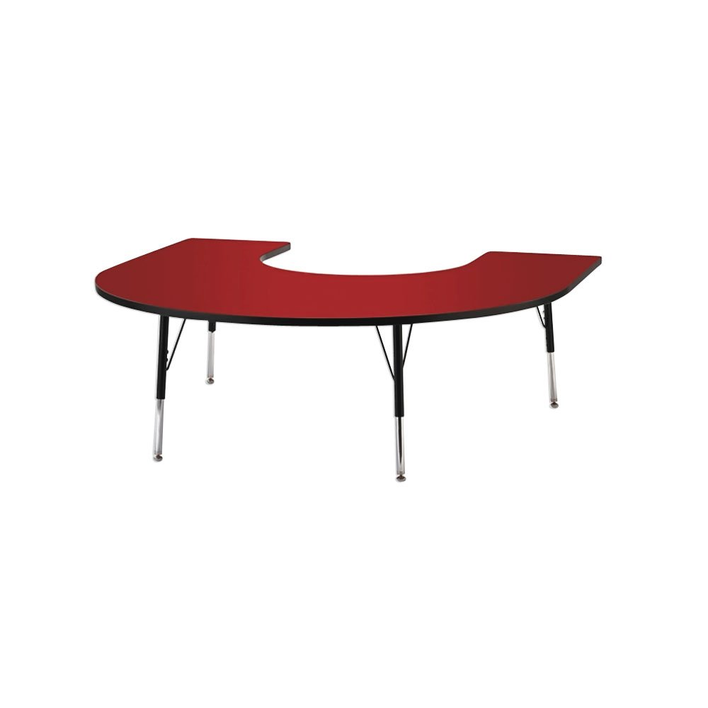 Kydz Activity Table  Horseshoe  66 Inch X 60 Inch, 11 Inch  15 Inch Ht  Red