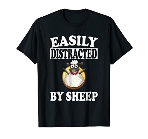 T-shirt Sheep Animal Funny (Easily Distracted By Sheep T-Shirt Farm Funny Animal Gift)