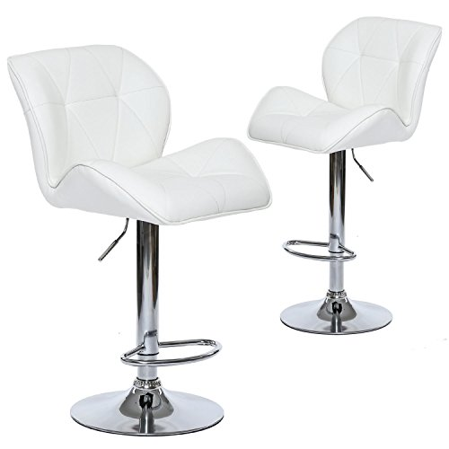Wahson Leather Adjustable Swivel Bar Stools with Contoured Back - Contemporary Kitchen Counter Stools Set of 2 (White) -