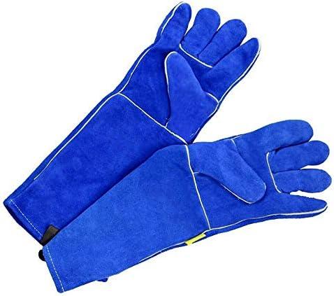 AMAZACER 溶接手袋は、L暖炉ストーブポットホルダーウェルダー耐性牛スプリットレザーBBQ/キャンプ/料理手袋ベーキンググリルグローブを熱し (Size : L)