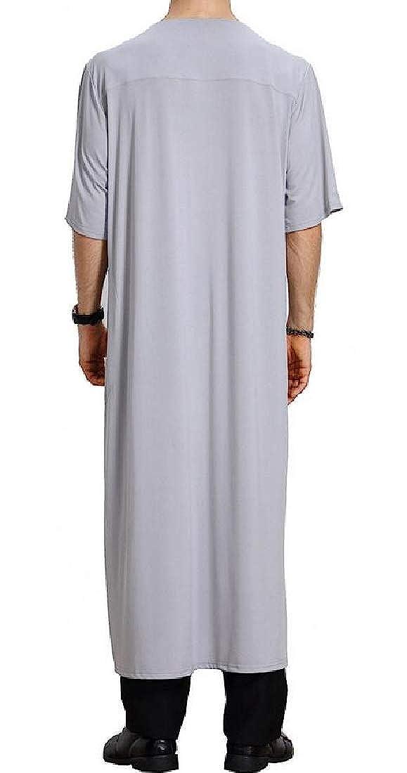 KLJR Men Relaxed Fit Thobe Muslim Short Sleeve Ramadan Solid V Neck Arab Long Shirt