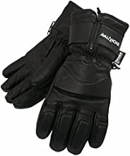 Avalanche Unisex Winter Sports LEATHER Gloves (Large Size) - WARM and DRY - Expandable Cuffs, FULL FINGER with