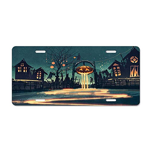 Fshionlicenkdseplate Halloween Theme Night Pumpkin and Haunted House Ghost Town Artful Car Licence Plate Covers Holders with Chrome Screw Caps for US Vehicles]()
